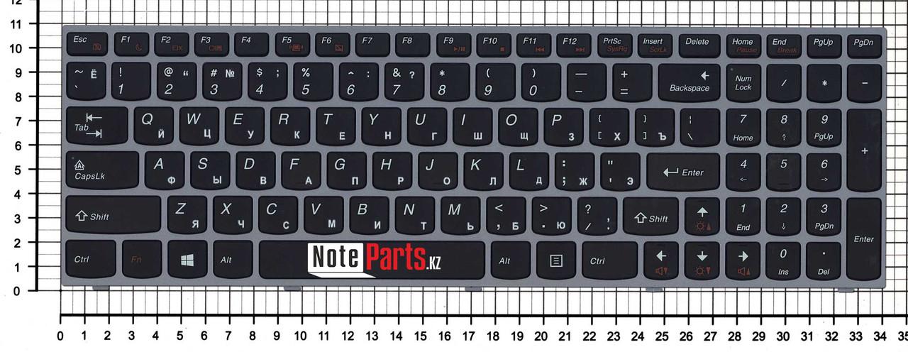 Клавиатура для ноутбука Lenovo IdeaPad B5400/ M5400, RU, черная с серебристой рамкой