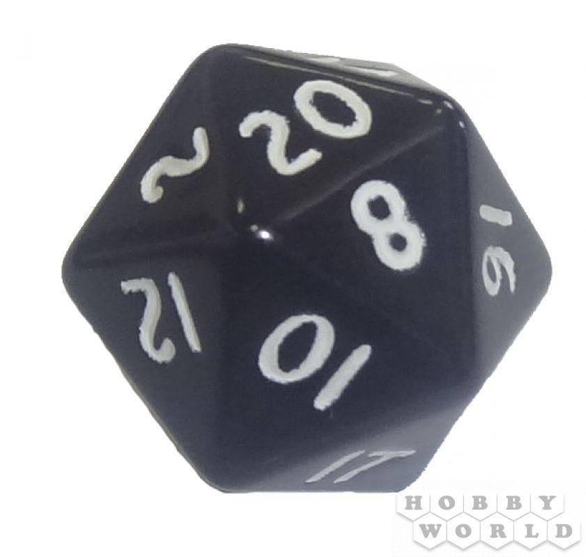 """РАЗНОГРАННЫЙ КУБИК """"DICE&GAMES"""" (непрозрачный, d20): черный"""