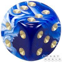 """АКСЕССУАРЫ: Пятнистый кубик """"Dice&Games"""" (драгоценный камень, d6, 15мм): синий"""