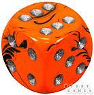 """Пятнистый кубик """"Dice&Games"""" (драгоценный камень, d6, 15мм): оранжевый, фото 2"""
