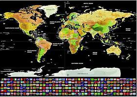 СКРЕТЧ КАРТА МИРА. 60*90 Карта путешествий. с флагами стран мира