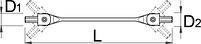 Ключ торцевой с шарнирными головками с шестигранным профилем 202/2AHX, фото 2