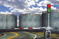 Комплект автоматического устройства заграждения для нефтебаз