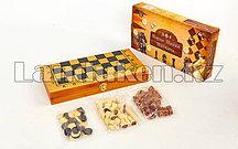 Нарды, шашки, шахматы деревянные 3-в-1 30*30 см  маленькие art-161