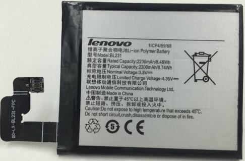 Заводской аккумулятор для Lenovo X2-TO (BL-231, 2300mAh)