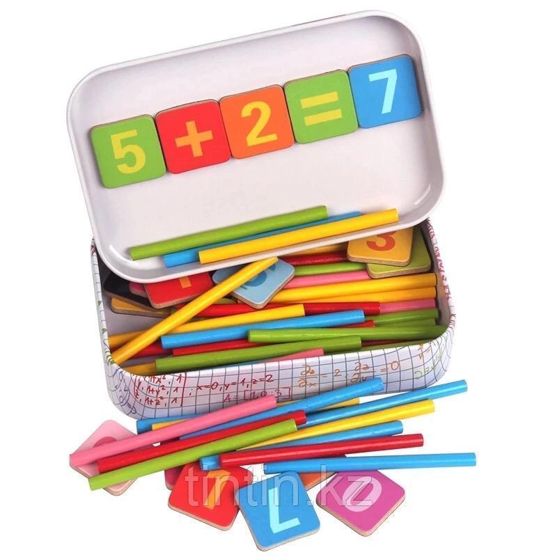 Счетные палочки в комплекте с магнитными цифрами, в железной банке