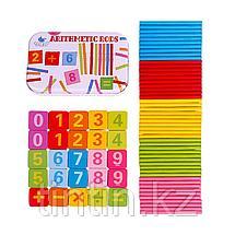 Счетные палочки в комплекте с магнитными цифрами, в железной банке, фото 3