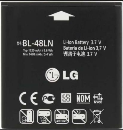 Заводской аккумулятор для LG C800 (BL-48LN, 1520mAh)
