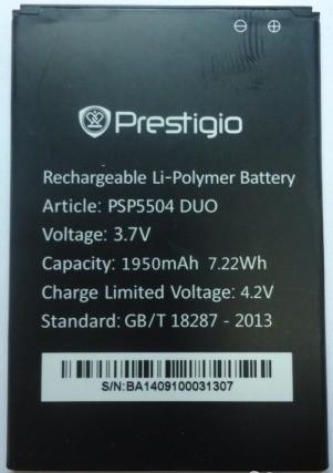 Заводской аккумулятор для Prestigio MultiPhone 5504 Duo (PSP5504 Duo, 1950mah)