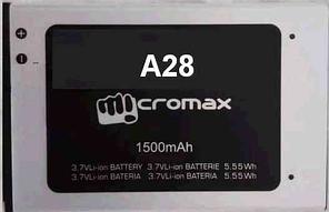 Заводской аккумулятор для Micromax A28 (1500 мАч)