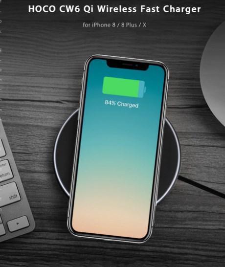 Беспроводное зарядное устройство Hoco CW6 для Samsung Galaxy S8 Plus G955F (черный) - фото 8