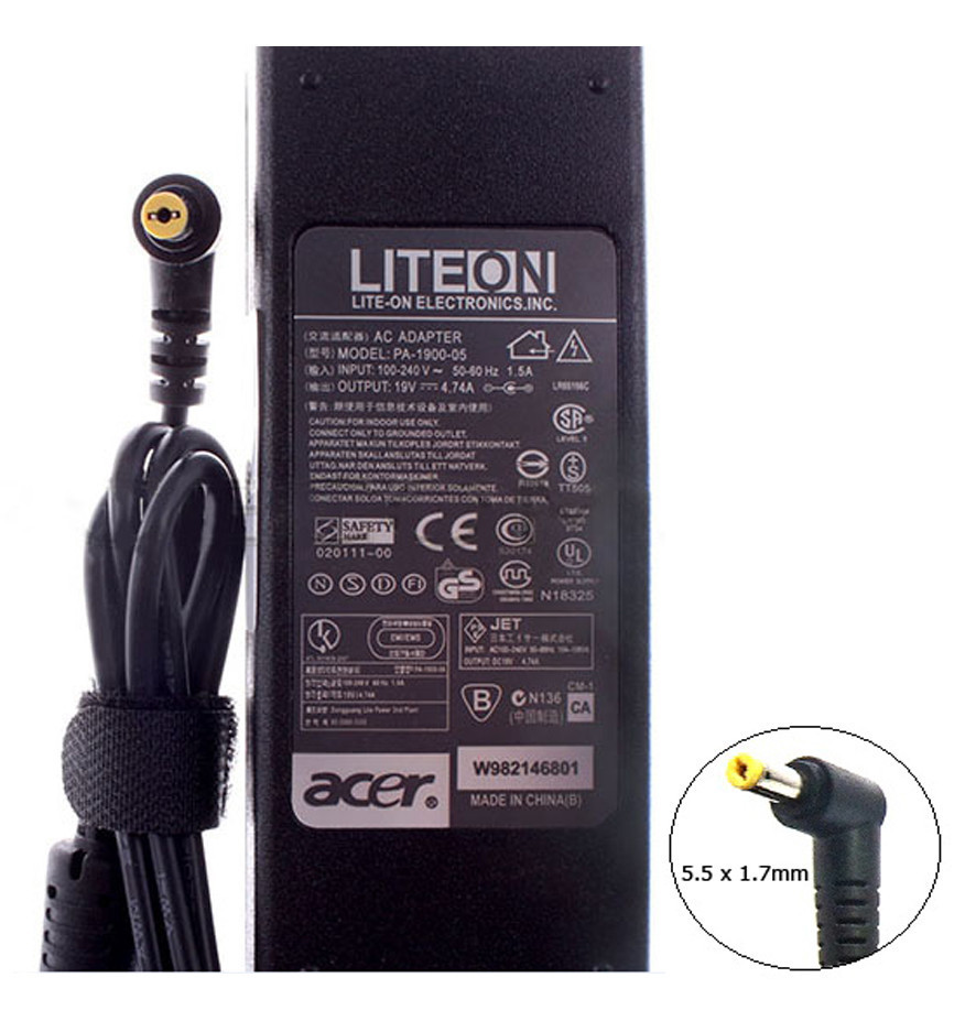 Оригинальный блок питания для ноутбука Acer Aspire VN7-572TG 19V 4.74A 90W 5.5x1.7mm