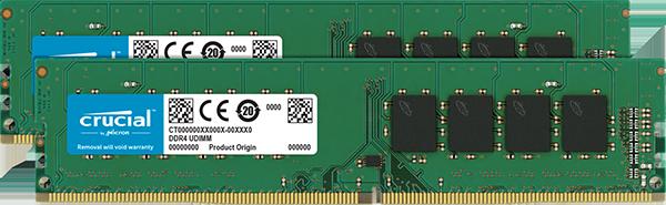 Оперативная память 32GB KIT (16Gbx2) DDR4 2400MHz Crucial PC4-19200 CL=17 Dual Ranked • x8 based • Unbuffered • NON-ECC  1.2V CT2K16G4DFD824A