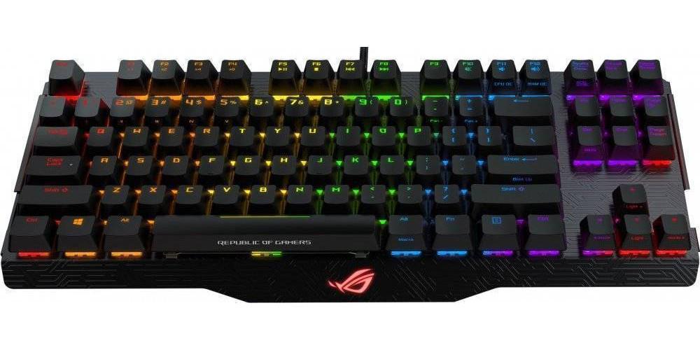 Игровая клавиатура ASUS M802 Claymore Core Cherry MX RGB Brown USB, Black, 90MP00I1-B0RA00