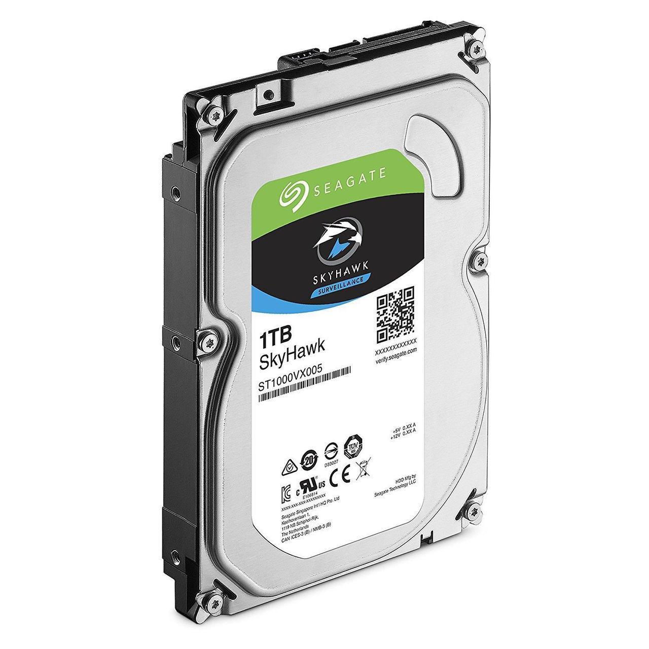"""Жесткий диск для видеонаблюдения 1Tb Seagate SkyHawk SATA3 3.5"""" 64Mb ST1000VX005. Диски выдерживают высокие рабочие нагрузки, отличаются низким"""