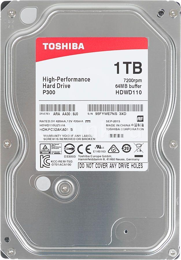 "Жесткий диск HDD 1Tb TOSHIBA Р300 SATA 6Gb/s 7200rpm 64Mb 3.5"" HDWD110EZSTA Retail"