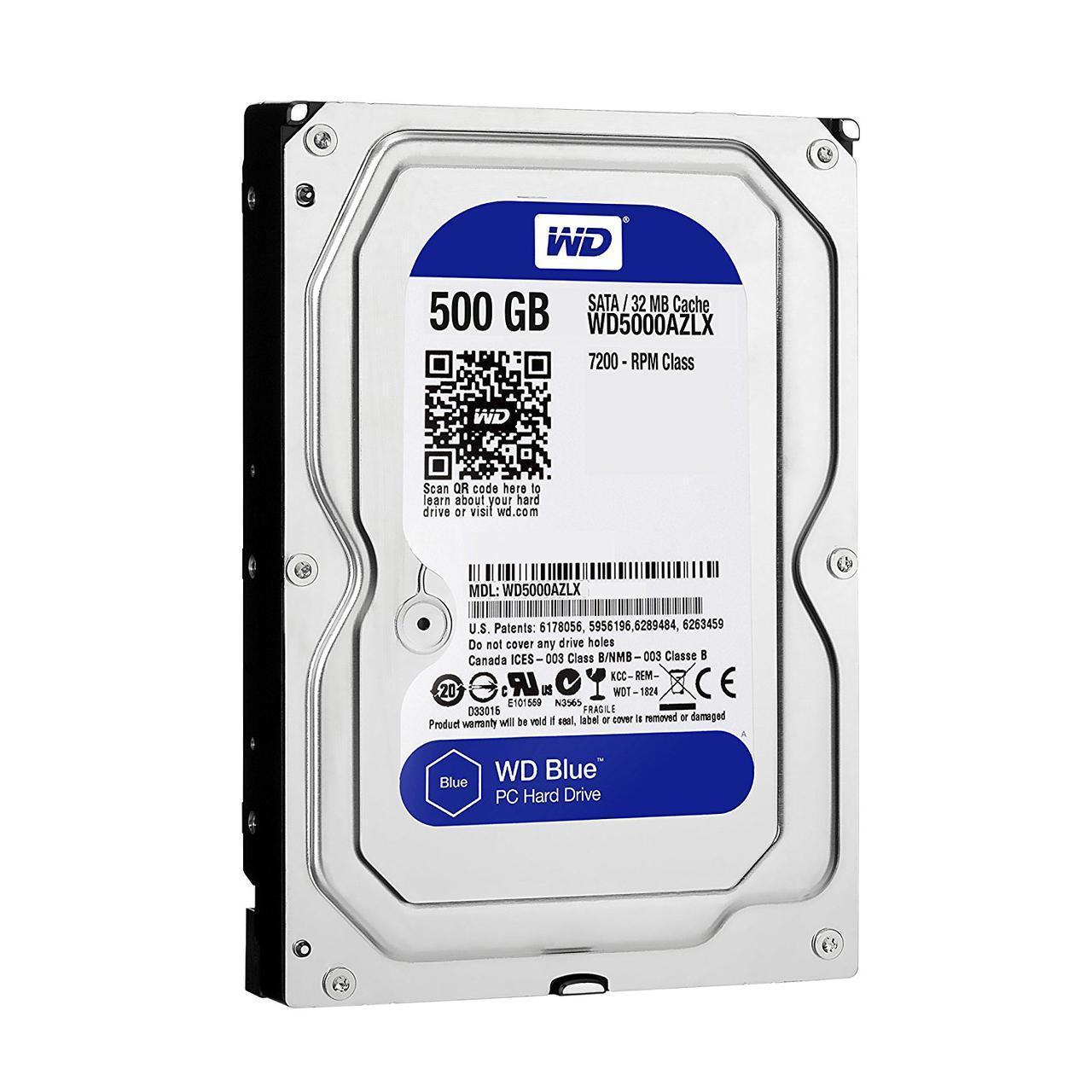 "Жесткий диск HDD  500Gb Western Digital Blue SATA 6Gb/s  3.5"" 7200rpm 32Mb WD5000AZLX"