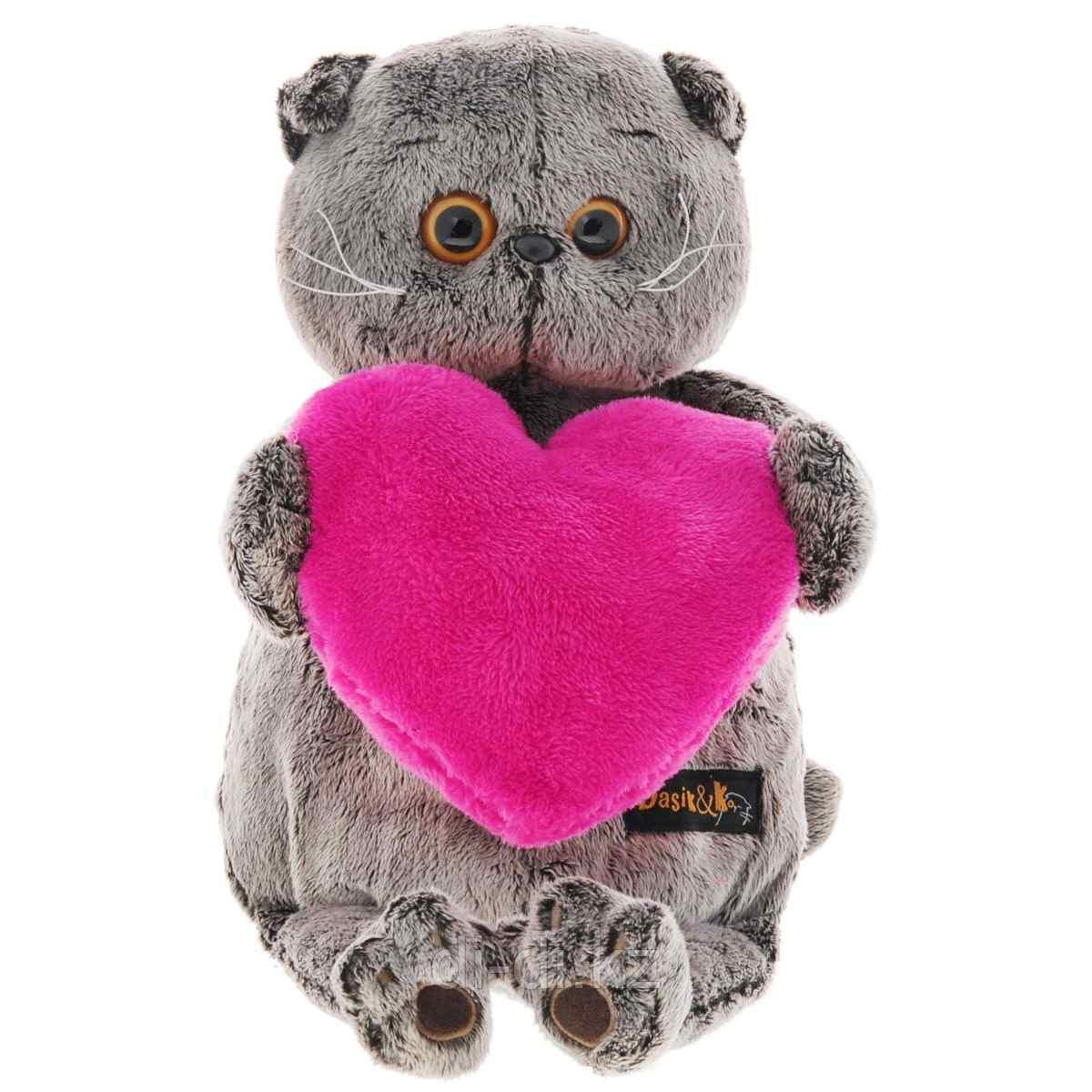 """Мягкая игрушка """"Басик с розовым сердцем"""", 19 см"""
