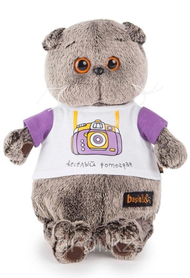 """Мягкая игрушка """"Кот Басик в футболке"""" - Веселый фотограф, 19 см"""