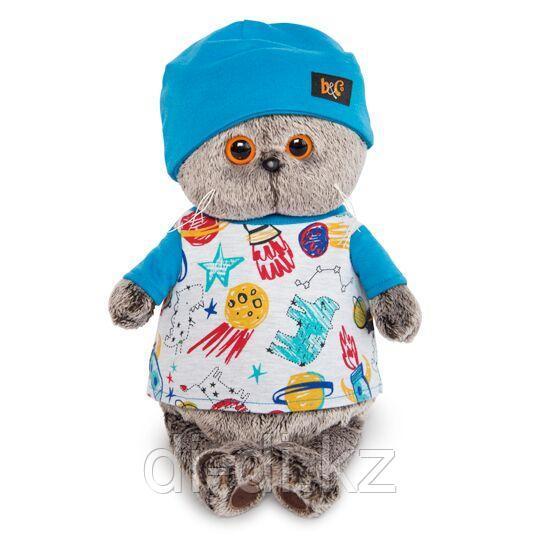 Кот Басик в футболке космос и в шапочке 19 см