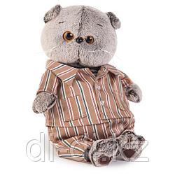 Мягкая игрушка Basik&Ko Кот Басик в шелковой пижамке, 19 см