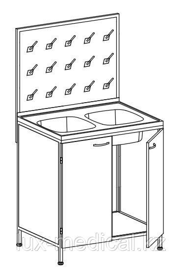 Стол лабораторный с 2-мя мойками со стеллажом для сушки лабораторной посуды