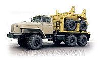 Трубоплетевозный автопоезд в составе тягача УРАЛ-596012 и прицепа-роспуска 904703, фото 1