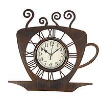 """Часы настенные, серия: Кухня, """"Чашка кофейная"""", бронза с напылением, 31х33 см"""