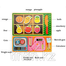 Деревянный фруктовый магазин-вкладыш, с кассой и разрезными фруктами на магнитах 30х30см, фото 3