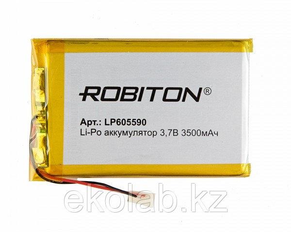 Аккумулятор ROBITON LP605590, Li-Pol, 3.7 В, 3500 мАч, призма со схемой защиты РК1
