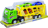 8858 C Трейлер 4 машинки Super Truck 45*18см            , фото 1