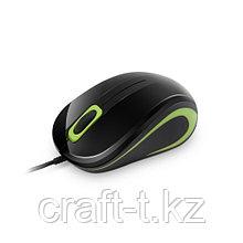 Мышь Delux DLM-133OUB, 3D, Оптическая 1000dpi, Проводной, USB 2.0, Длина кабеля 1.5 м., Чёрно--зелёный