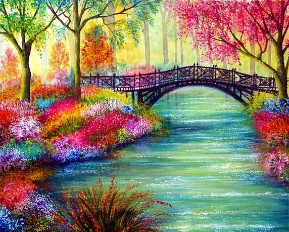 Картины стразами - Мостик в цветущем парке - 40х50см