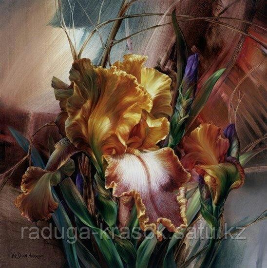 Картины стразами - Желтые ирисы - 40х40см