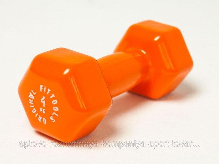 Гантель в виниловой оболочке 4 кг (Цвет - оранжевый)