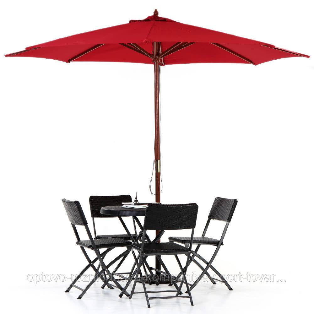 Зонт летний с подставкой (d=2.6м), бордовый