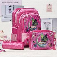 Рюкзак школьный, отдел на молнии, 3 наружных кармана, 2 боковые сетки, с сумкой и косметичкой, цвет малиновый
