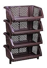 Этажерка для хранения Универсал М6530, 4 полки, коричневая