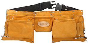 Пояс STAYER PROFESSIONAL для инструментов, кожаный, 11 карманов, 2 скобы