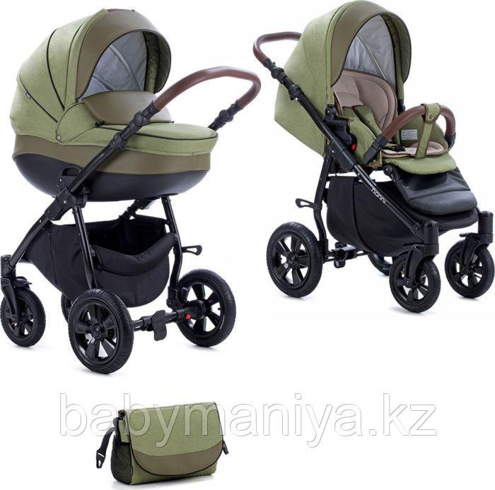 Коляска детская 3 в 1 Tutis Nanni Автолюлька+короб+прогулка Олива + кожа Темная олива