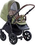 Коляска детская 3 в 1 Tutis Nanni Автолюлька+короб+прогулка Олива + кожа Темная олива, фото 3