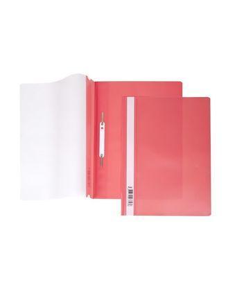 """Папка-скоросшиватель пластиковая """"Hatber"""", А4, 140/180мкм, прозрачный верх, красная"""