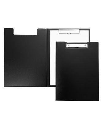 Папка - Планшет Пластиковая Hatber А4ф с метал. зажимом с крышкой 1,5мм STANDARD Черная в индив.упак