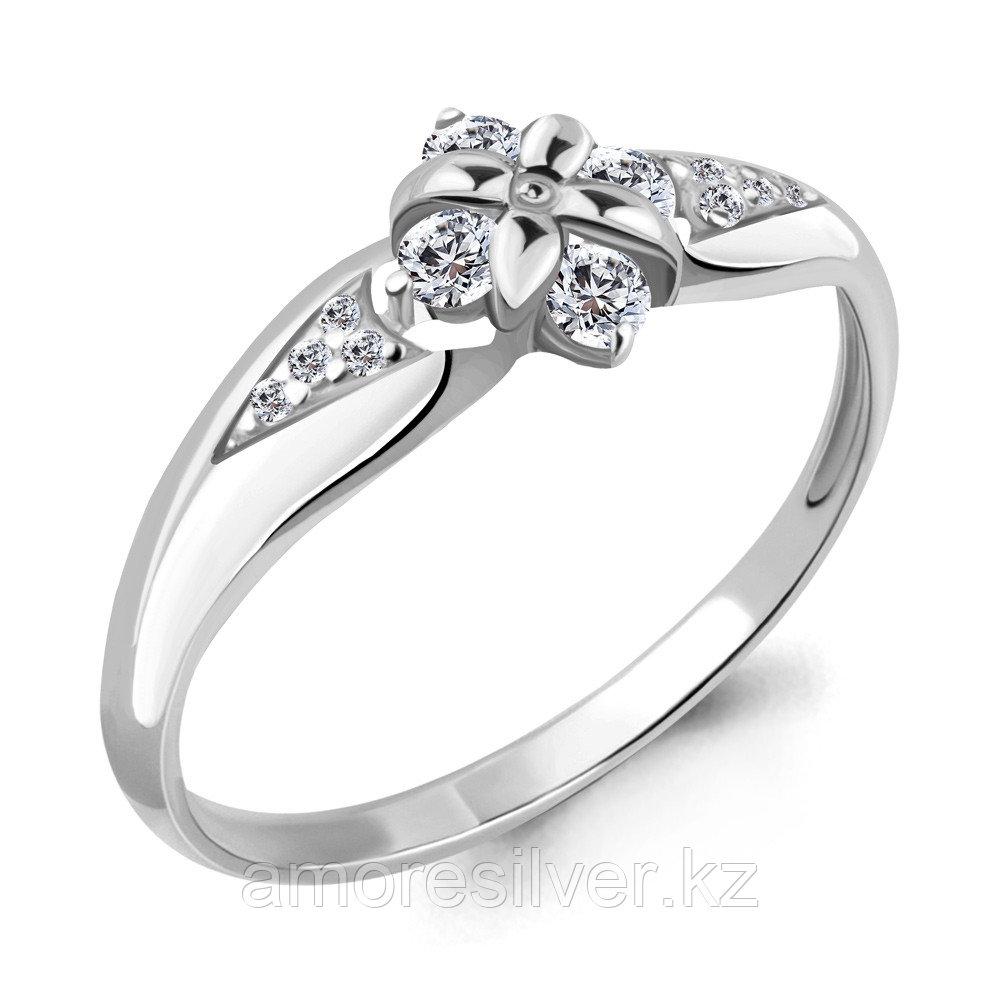 Серебряное кольцо с фианитом   Аквамарин 68282А