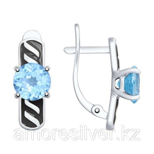 Серьги из серебра с топазом и эмалью   SOKOLOV 92021823