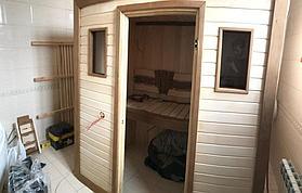 Сборная финская сауна в частном доме для ванной комнаты. Индивидуальное изготовление. Премиум дизайн. Размер = 1,85 х 1,24 х 2,1 м. Адрес: г.... 19