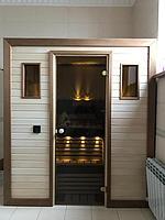 Сборная финская сауна в частном доме для ванной комнаты. Индивидуальное изготовление. Премиум дизайн. Размер = 1,85 х 1,24 х 2,1 м. Адрес: г.... 2