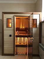 Сборная финская сауна в частном доме для ванной комнаты. Индивидуальное изготовление. Премиум дизайн. Размер = 1,85 х 1,24 х 2,1 м. Адрес: г.... 1