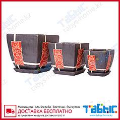 Горшки керамические в комплекте 3 шт. hg 09-1169/3