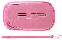 Чехол мягкий с ремешком PSP Slim 2000/3000, розовый